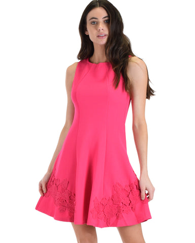 SL4553 Pink Sleeveless Textured Fit And Flare Dress Floral With Lace Detail 2-2-2 - Clothing Showroom