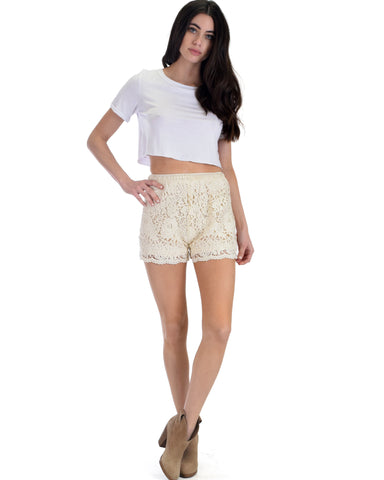SL4560 Cream Crochet Lace Shorts With Elastic Waist 2-2-2 - Clothing Showroom