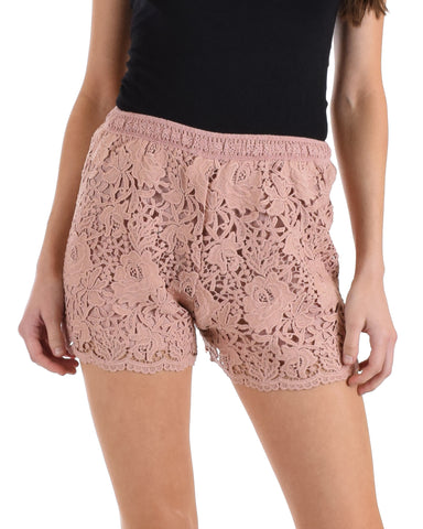 SL4560 Rose Crochet Lace Shorts With Elastic Waist 2-2-2 - Clothing Showroom