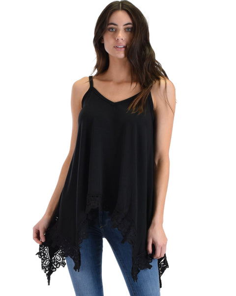 SL4563 Black Sleeveless Cami With Handkerchief Hemline And Lace Trim 2-2-2 - Clothing Showroom
