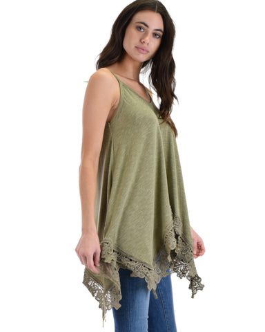 SL4563 Olive Sleeveless Cami With Handkerchief Hemline And Lace Trim 2-2-2 - Clothing Showroom