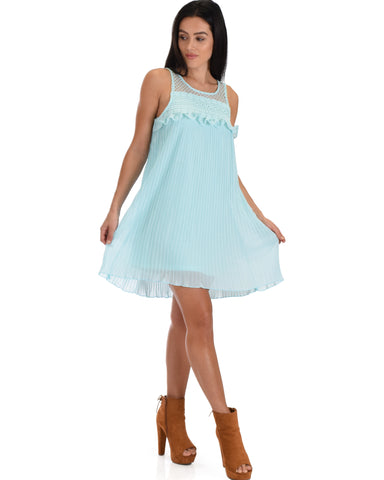 SL4577 Mint Sleeveless Pleated Shift Dress With Lace Yoke 2-2-2 - Clothing Showroom