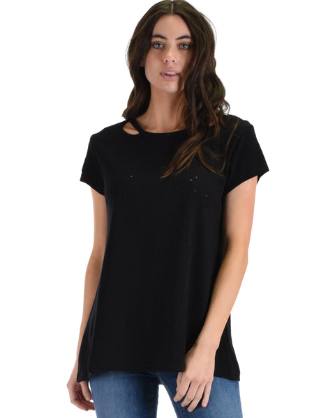 SL4665 Black Half Sleeve Distressed Top With Cut Out Neck Detail 2-2-2 - Clothing Showroom