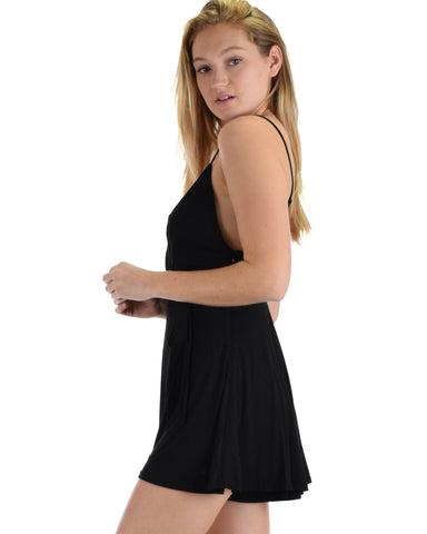 SL4680 Black Spaghetti Strap Cami Romper With Solid Zipper And Tie 2-2-2 - Clothing Showroom