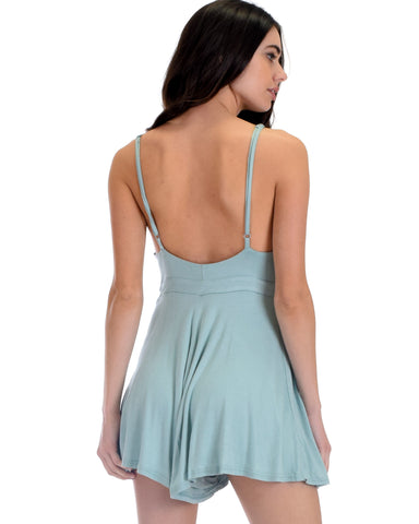 SL4680 Slate Spaghetti Strap Cami Romper With Solid Zipper And Tie 2-2-2 - Clothing Showroom
