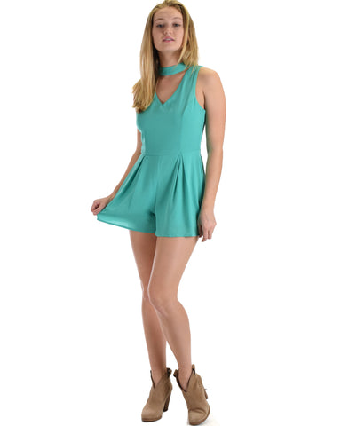SL4733 Jade Sleeveless Romper With Keyhole 2-2-2 - Clothing Showroom