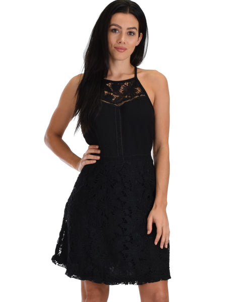 SL4753 Black Sleeveless Lace A-Line Dress With Lining 2-2-2 - Clothing Showroom