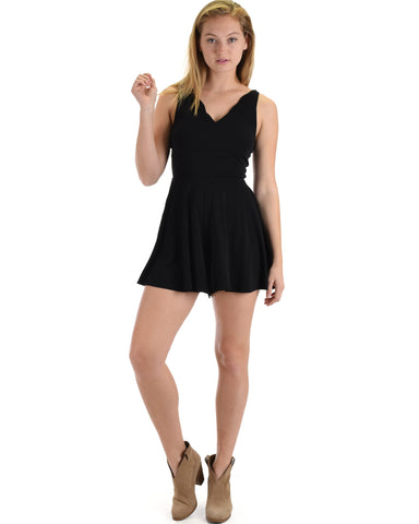 SL4944 Black Sleeveless Romper With Scalloped Neckline And Back Cross Band 2-2-2 - Clothing Showroom