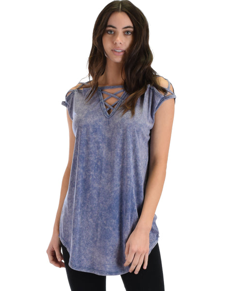 SL5043 Blue Sleeveless Stone Washed Tunic Top With Neck And Shoulder Straps 2-2-2 - Clothing Showroom