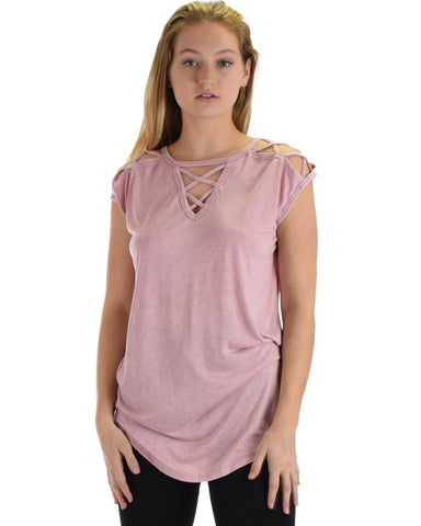 SL5043 Pink Sleeveless Stone Washed Tunic Top With Neck And Shoulder Straps 2-2-2 - Clothing Showroom