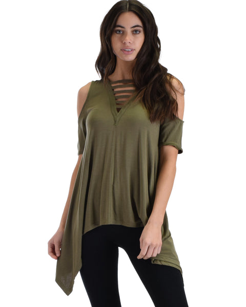 SL5090 Olive Cold Shoulder Half Sleeve Top Handkerchief Bottom And Front Straps 2-2-2 - Clothing Showroom