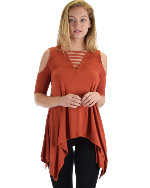SL5090 Rust Cold Shoulder Hlad Sleeve Top Handkerchief Bottom And Front Straps 2-2-2 - Clothing Showroom