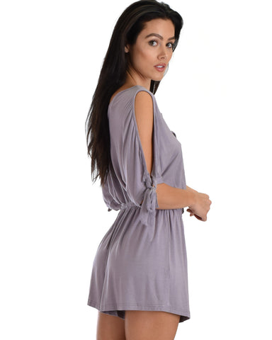 SL5103 Lilac Cold Shoulder Romper With Neck Strap Ad Sleeve Ties 2-2-2 - Clothing Showroom