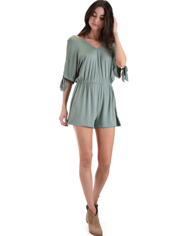SL5103 Slate Cold Shoulder Romper With Neck Strap Ad Sleeve Ties 2-2-2 - Clothing Showroom