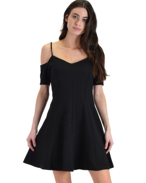 SL5136 Black Short Sleeve Cold Shoulder Fit And Flare Dress With Back Zipper 2-2-2 - Clothing Showroom