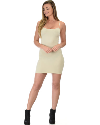 601 Super Duper Stretch Beige Camisole Tank Dress