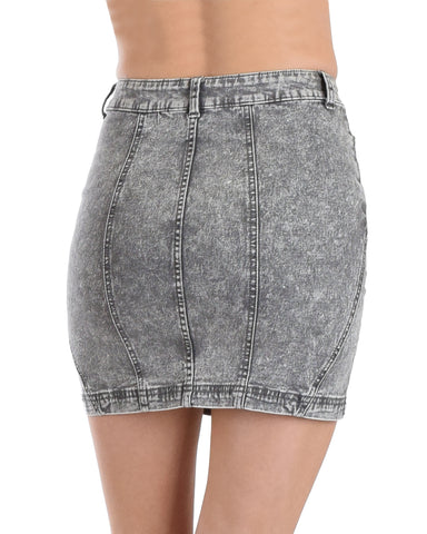 SP55580 Washed Denim Mini Skirt 1-2-2-1 - Clothing Showroom