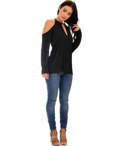 Lyss Loo Melt My Heart Cold Shoulder Black Blouse Top - Clothing Showroom