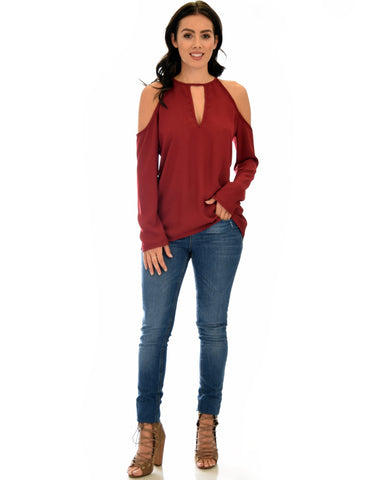 Lyss Loo Melt My Heart Cold Shoulder Burgundy Blouse Top - Clothing Showroom