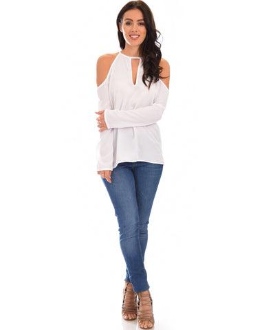 Lyss Loo Melt My Heart Cold Shoulder Ivory Blouse Top - Clothing Showroom