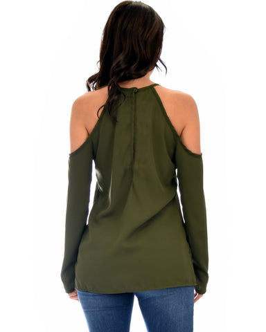 Lyss Loo Melt My Heart Cold Shoulder Olive Blouse Top - Clothing Showroom