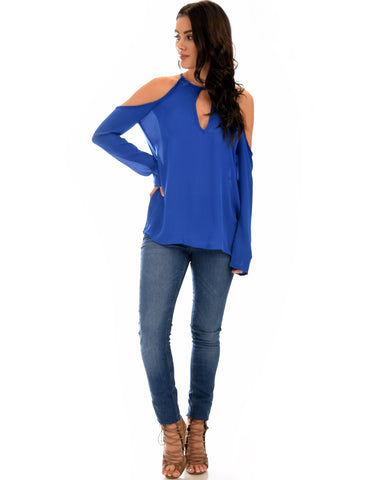 Lyss Loo Melt My Heart Cold Shoulder Royal Blouse Top - Clothing Showroom