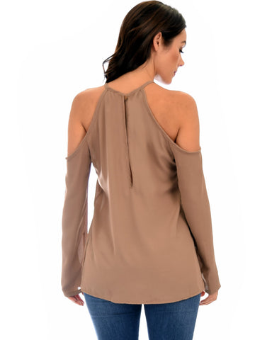 Lyss Loo Melt My Heart Cold Shoulder Taupe Blouse Top - Clothing Showroom