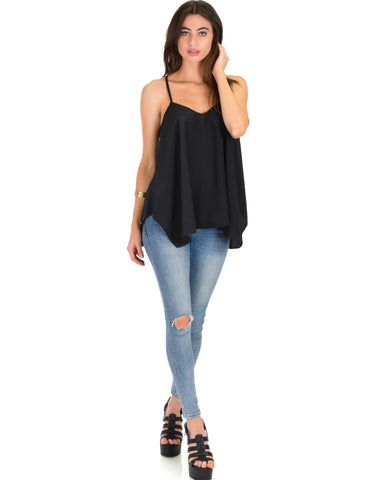Lyss Loo Stardom Cross Straps Versatile Black Tank Top - Clothing Showroom