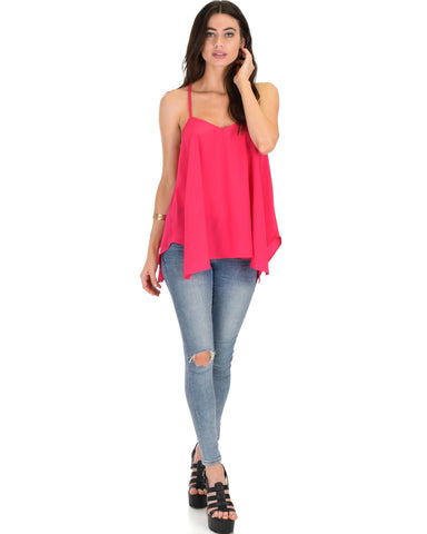 Lyss Loo Stardom Cross Straps Versatile Fuschia Tank Top - Clothing Showroom