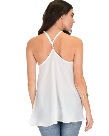 Lyss Loo Stardom Cross Straps Versatile Ivory Tank Top - Clothing Showroom
