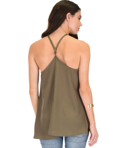 Lyss Loo Stardom Cross Straps Versatile Olive Tank Top - Clothing Showroom
