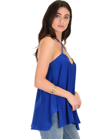 Lyss Loo Stardom Cross Straps Versatile Royal Tank Top - Clothing Showroom