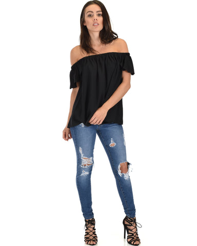 Lyss Loo Sunny Honey Off The Shoulder Sheer Black Blouse Top - Clothing Showroom