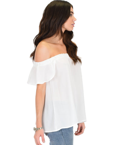 Lyss Loo Sunny Honey Off The Shoulder Sheer Ivory Blouse Top - Clothing Showroom
