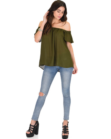 Lyss Loo Sunny Honey Off The Shoulder Sheer Olive Blouse Top - Clothing Showroom
