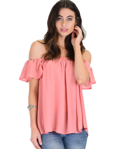 Lyss Loo Sunny Honey Off The Shoulder Sheer Pink Blouse Top - Clothing Showroom
