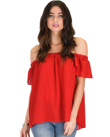 Lyss Loo Sunny Honey Off The Shoulder Sheer Red Blouse Top - Clothing Showroom