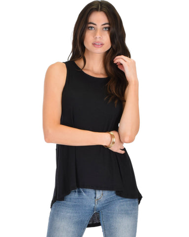 Lyss Loo My First Crush Ribbed Black Top With Keyhole Back - Clothing Showroom