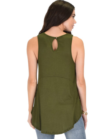 Lyss Loo My First Crush Ribbed Olive Top With Keyhole Back - Clothing Showroom