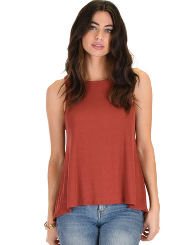 Lyss Loo My First Crush Ribbed Rust Top With Keyhole Back - Clothing Showroom