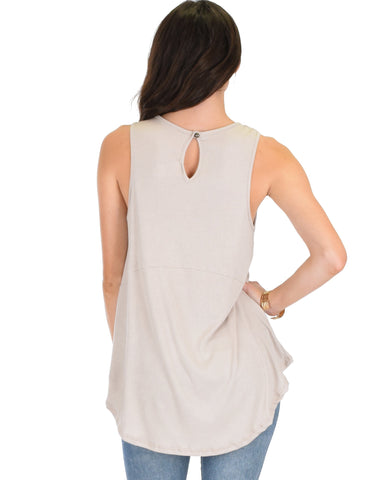 Lyss Loo My First Crush Ribbed Taupe Top With Keyhole Back - Clothing Showroom