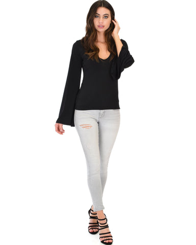 Lyss Loo Ring My Bell Sleeve Black V-Neck Top - Clothing Showroom