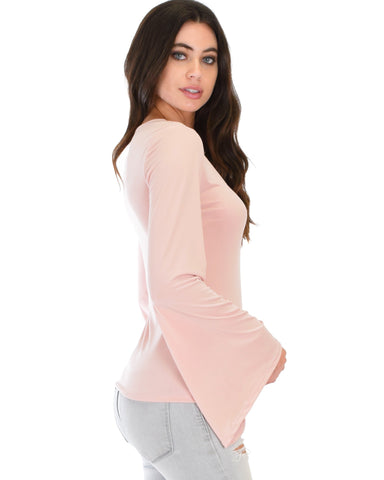 Lyss Loo Ring My Bell Sleeve Mauve V-Neck Top - Clothing Showroom