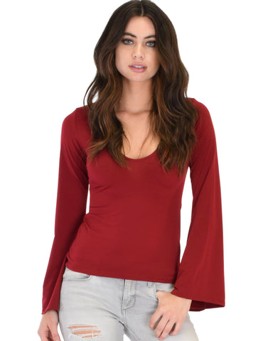 Lyss Loo Ring My Bell Sleeve Burgundy V-Neck Top - Clothing Showroom
