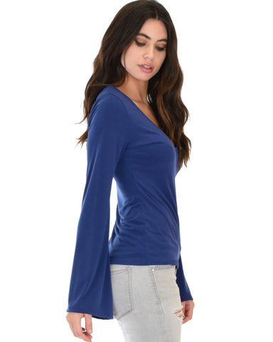 Lyss Loo Ring My Bell Sleeve Navy V-Neck Top - Clothing Showroom