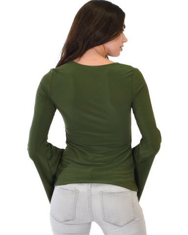 Lyss Loo Ring My Bell Sleeve Olive V-Neck Top - Clothing Showroom