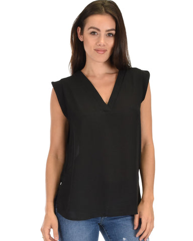 Lyss Loo Queen of Hearts Deep V-Neck Sheer Black Blouse Top - Clothing Showroom