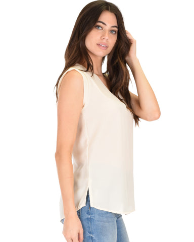 Lyss Loo Queen of Hearts Deep V-Neck Sheer Ivory Blouse Top - Clothing Showroom