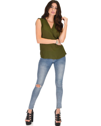 Lyss Loo Queen of Hearts Deep V-Neck Sheer Olive Blouse Top - Clothing Showroom