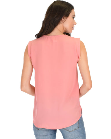 Lyss Loo Queen of Hearts Deep V-Neck Sheer Pink Blouse Top - Clothing Showroom